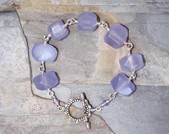 Lavender Bracelet, Jade Bracelet, Stone Bracelet, Handmade Bracelet, Purple Bracelet, Chunky Bracelet, Stone Nugget Bracelet, Spring