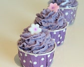 Lavender and Chamomile Whipped Soap Frosted Bath Bomb Cupcake, Bath Cupcake, Bath Bomb Fizzy, Fall Gift