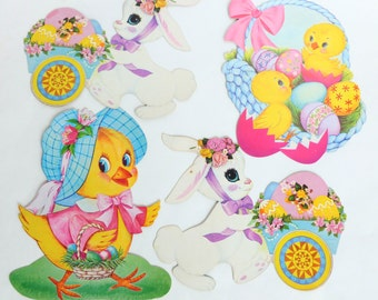 Diecut Easter Decorations Lot Bunny Rabbits, Baby Chicks, Eggs, Basket Cardboard Paper Ephemera Holiday Decor