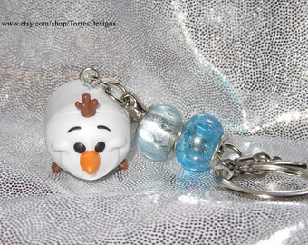 Tsum Tsum Frozen Olaf Keychain with Glass Slider Beads Custom made Ready To Ship