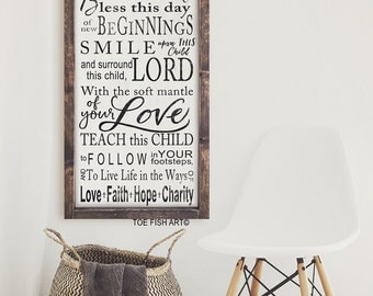 Irish Blessing   Baptism Christening Gift  Typography Word Art  Beautiful Nursery or Playroom Wooden Framed Sign