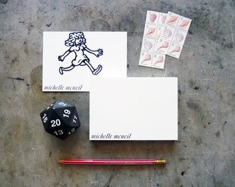 30 pt Caslon Italic Hand-Set Personalized Letterpress Printed Note Cards