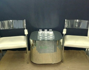 Pair Chrome, Lucite Square Arm Chairs