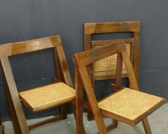 Four Folding Chairs Square Frame Modern Mid Century