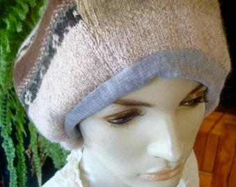 slouchy Hat womens tam oversize hat wool silk fairisle