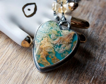 Plume Agate, Turquoise, Citrine, Heart Necklace, Sterling Silver, Statement Necklace... L'Amour... You Are Loved Edition...