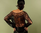 Black Lace Top, Knit Lace Top, Top Tunic, Open Weave Blouse, Black Evening,  Long Sleeve Top, Boat Neck, Women Sweater, Summer Cover Up