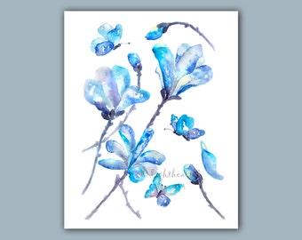 Navy blue, bedroom print, Magnolia Print, indigo, Bathroom Decor, butterfly, Blue Watercolor Painting, Butterfly art, magnolia painting