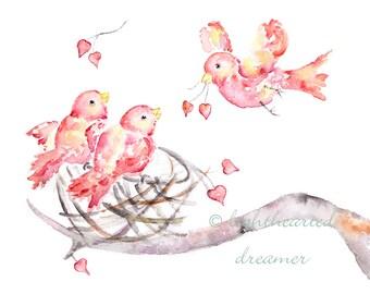 twin girl nursery art, gift for twins, Choose Color, gift for twin girls, boys, bird Nursery Print, bird nursery art