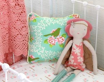 Turquoise and Pink Vintage Mockingbird Roses Baby Bedding Set. Baby Girl Crib Bedding Bumperless Set with Pillow, Sheet, & Ruffle Skirt