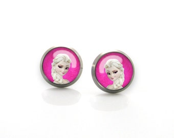 Frozen Disney Frozen Elsa Anna Titanium Post Earrings | Hypoallergenic Sensitive Stud | Titanium Baby Cute Girls Children earrings #8