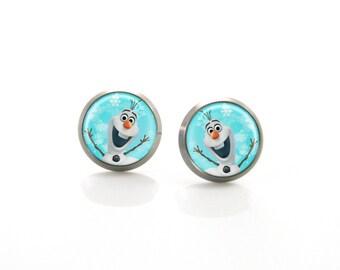 Frozen Olaf Elsa Titanium Post Earrings | Hypoallergenic Sensitive Stud | Titanium Stud Earrings | Funny Cute Baby Girl Children Earrings #5