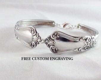 Spoon Bracelet, FREE ENGRAVING, Valley Rose 1956,  Spoon Jewelry, Silverware Jewelry, SIlverware Bracelet, Silver Bracelet, Vintage Wedding
