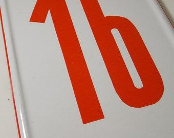 Vintage Porcelain Enamel Street Number Sign / Number Sign / Number 16/ #16 / House Number Sign / French Enamel / White and Red