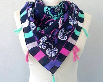 Turkish scarves Ottoman motifs scarf Pure cotton shawl Tassel scarf Istanbul Tile motifs headscarf summer scarves women gift