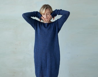 Linen knit dress long sleeved knit tunic dress with thumb holes - navy blue summer midi dress