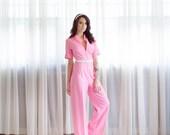 1970s Jumpsuit - Vintage 70s Pink Jumpsuit - Race Time Jumpsuit