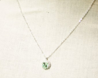 Handmade Necklace Swarovski Chrysolite Pendant Chrysolite Crystal Pendant Swarovski Necklace Swarovski Light Green Bridesmaid Green Crystal