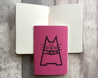 Gift for Cat Lover - Cat notebook pink - Small blank journal in hot pink featuring Dave the cat - A6 fuschia notepad