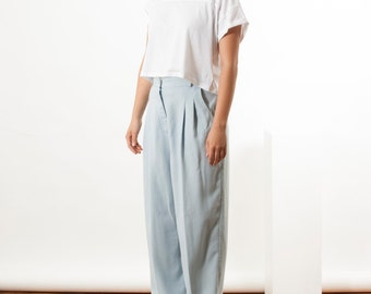 Pleated Light Blue Pants / Fall High Waisted Pants / Pleated Pastel Trousers