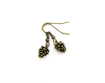 Pinecone Earrings Pine Cone Jewelry Forest Charm Botanical Nature Rustic Woodland Wedding Accessories Autumn Fall Bridesmaids Womens Gift