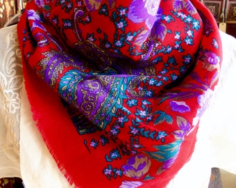 Vibrant Red Purple and Teal Floral Paisley Scarf//Vintage 80s-Bright and Beautiful for Fall! #R1012b