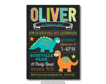 Dinosaur Birthday Invitation,  1st Birthday Invitation, Dino Birthday Party,  Prehistoric Invitation,  Printable, Digital, 1562