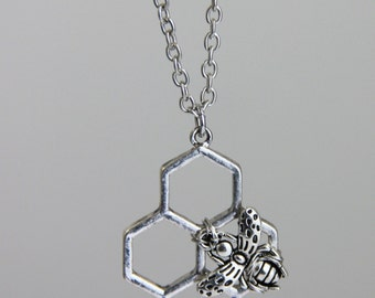Subtle Bee Pendant - Silver Honeycomb Bee Pendant on Silver Chain Necklace Neutral Metal Casual Honey Bee Layering Necklace