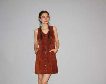 Vintage  1960s Full Suede Hippie Dress - Vintage 60s Suede Dress -   60s Hippie Dresses  - WD0626