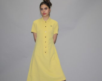 1960s Vintage Lacoste Izod Yellow Tennis Shirt Dress - Vintage Lacoste Dress  - Vintage 60s Lacoste  - WD0737