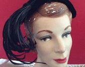 Vintage 1940s 1950s Hat Black Velvet & Feathers