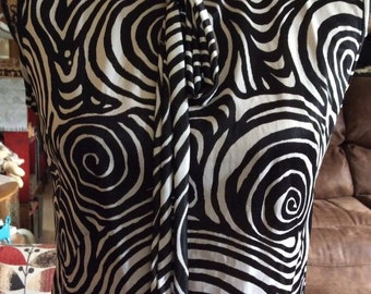 Vintage 1960s 1970s Dress Funky Op Art Black White Poly Blend Fabric