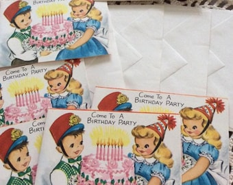 Vintage 1950s 1960s Invitations Deadstock/Never Used 5 Birthday Party Invites With 5 Envelopes Paper Ephemera Scrap Booking Crafts
