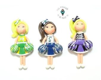 Custom Cheerleader Figurine - Pendant, Bow Center, Charm, Magnet, Brooch, Cheerleader Ornament, Personalized Cold Porcelain Clay Cheerleader