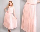 1970's Blush Pink Dress / Pale Pink Pleated Dress / Medium