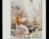 RESERVED for Leslie - 1930 fairy tales Antique print, a sweet children illustration, Fairy and winged child in the water, in pastel colors