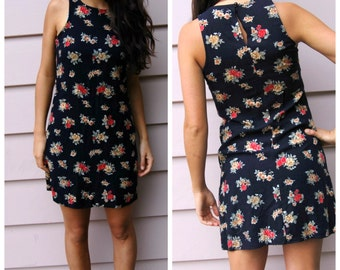 Vintage 90s TANK GRUNGE ROSE Flower Dress Small Fitted