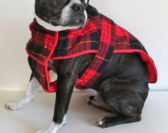 vintage dog jacket - TARTAN DOG plaid jacket / M dog