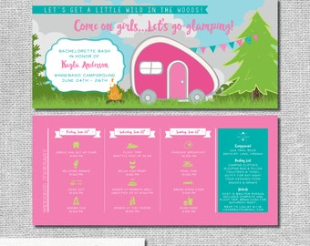 Glamping Bachelorette Invitation with Itinerary - Camping - Personalized Printable File or Print Package - Let's Go Glamping #00172-PI10