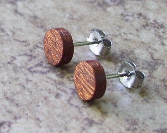 "Tiny Stud, Wood Stud Earrings, Mens Stud, Mahogany Wooden Earring, Surgical stainless Steel Posts - 1/4""(6mm) - 909"