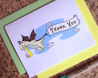 dragon stork fairy tale baby shower thank you cards for either boy or girl (blank or custom printed inside) with envelopes - set of 10