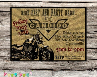 Victory Motorcycle Invitation - Bucks Night - Masculine Invitation - 50th Birthday Party - Father's Day - Printable - DIY - Digital File