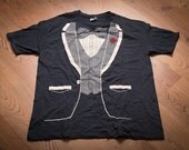 Formal Tuxedo T-Shirt, XL, Hipster Bow Tie, Prom Suit Tee, Vintage 80s