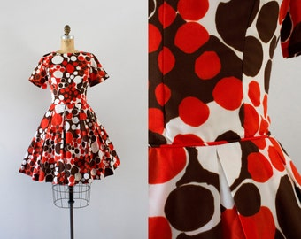1960s Crackle Pop abstract day dress / 60s fit n' flare