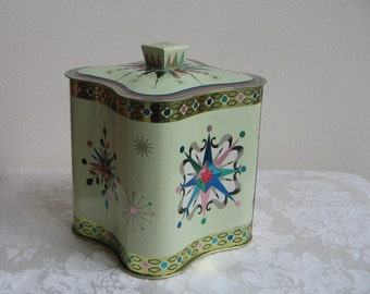Vintage Starburst Tin by Baret Ware England,  Metallic Teal Turquoise Pink Embossed Metal Container Box