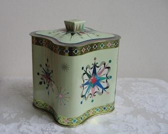 Vintage Starburst Tin by Baret Ware England,  Metallic Teal Turquoise Pink Embossed Metal Container Box