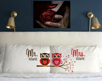 Personalised (Add Your Name) Mr Mrs Owl Pillow Case  Perfect Gift  Anniversary  Gift Wedding