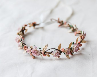 dusty pink & gold large flower hair wreath // bridal wedding flower crown headband rustic forest garden spring woodland headpiece
