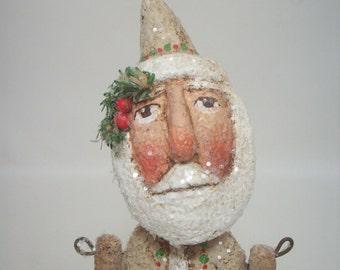 Beige Santa Primitive Paper Mache Folk Art Santa
