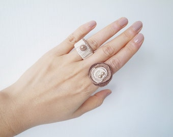 Crochet Jewelry (Free Form 1-b) Crochet Ring, Statement Ring, Fiber Ring, Rings Set